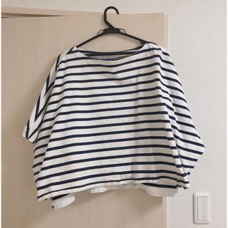 イエナスローブ(IENA SLOBE)のドルマンスリーブ ボーダーカットソー 日本製 ネイビー(Tシャツ/カットソー(半袖/袖なし))