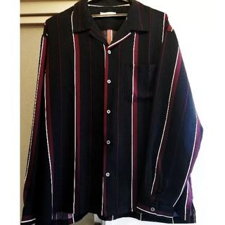 シャツ オープンカラー ストライプ 黒 赤 オーバー ビック モード ロック(シャツ)