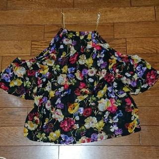 肩開き花柄シフォントップス(シャツ/ブラウス(半袖/袖なし))