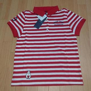 ニジュウサンク(23区)の新品 23区 ゴルフ 半袖 ポロシャツ S 140 ボーダー レッド(Tシャツ/カットソー)