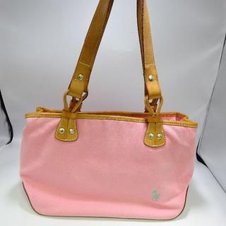 ラルフローレン(Ralph Lauren)のラルフローレン キャンバス×レザートート ピンク ハンドバッグ(トートバッグ)