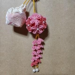つまみ細工花玉(薬玉)+幸せ巾着サシェ(その他)