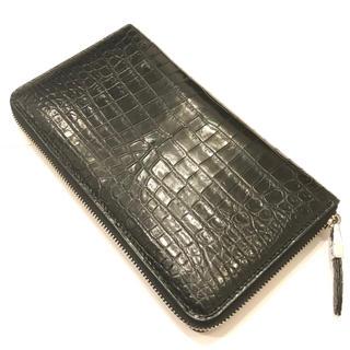 未使用☆ リアル クロコダイル 長財布 ロングウォレット ブラック(長財布)