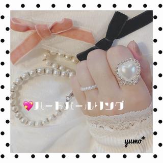 イートミー(EATME)のハートパールリング୨୧⑅*. ホワイト 指輪 セット アイドル 量産(リング(指輪))