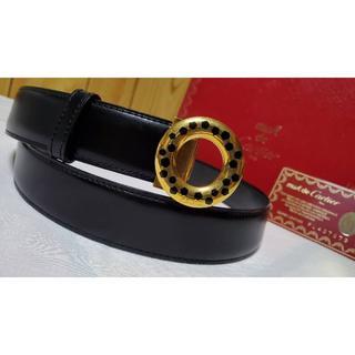 カルティエ(Cartier)の正規レア カルティエ パンサーバックル レザーベルト黒 パンテールラウンドリング(ベルト)