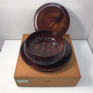 R35268 盆付菓子器 梅 木 蓋付き 箱付き(容器)
