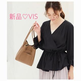 ヴィス(ViS)の【新品】カシュクールブラウス 黒 ドット(シャツ/ブラウス(長袖/七分))
