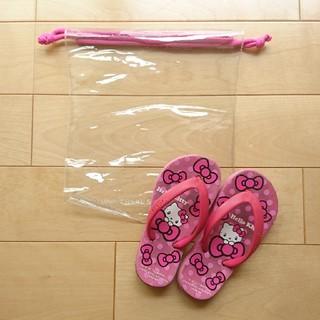 ハローキティ(ハローキティ)の【キティちゃん】サンダル 17~18cm ビニールバッグ付き(サンダル)