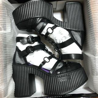 YOSUKE - 新品 24.5cm ✟YOSUKE✟ 厚底サンダル ブラック