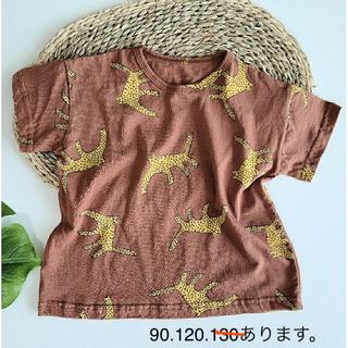 ヒョウ柄Tシャツ ブラウン 90(Tシャツ/カットソー)