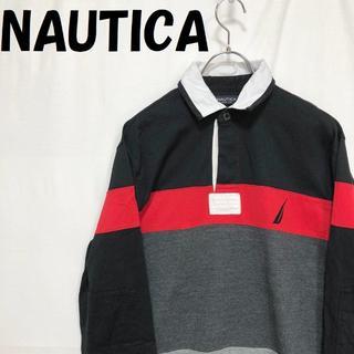 ノーティカ(NAUTICA)の【人気】NAUTICA 長袖 ラガーシャツ レッド ブラック グレー サイズS(Tシャツ/カットソー(七分/長袖))