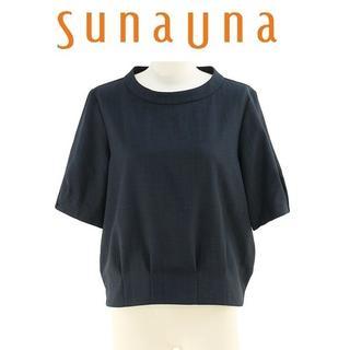 スーナウーナ(SunaUna)のL-新品 sunauna スーナウーナ リネン風ブッチャー裾タックブラウス(シャツ/ブラウス(半袖/袖なし))