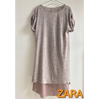 ザラ(ZARA)の【ZARA】キャミ付きTシャツワンピース ルームウェア ベージュ Mサイズ(ルームウェア)