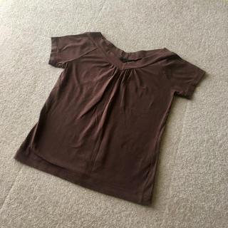 エフデ(ef-de)の値下げ不可 美品 エフデ 日本製 Tシャツ トップス ブラウン Vネック(Tシャツ(半袖/袖なし))