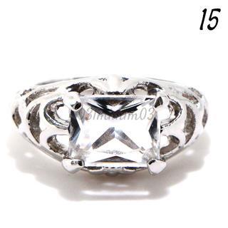 W15 リング 15号 人工石 ホワイトサファイア ホワイトゴールドフィルド(リング(指輪))