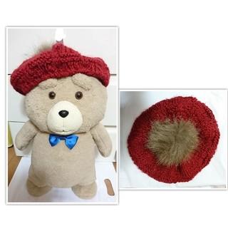 ファー付き 赤 レッド  ベレー帽 ニット帽(ハンチング/ベレー帽)