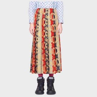 グッチ(Gucci)のGUCCIグッチ ゲームウール ロングスカート 40 シルヴィウェブカラー(ロングスカート)