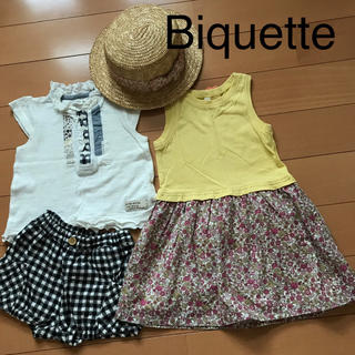 ビケット(Biquette)のワンピース ズボン + ビケット 麦わら 帽子 Tシャツ 90(Tシャツ/カットソー)