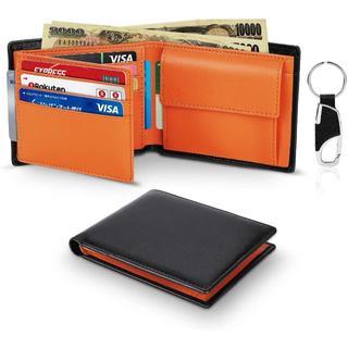 二つ折り財布 財布 メンズ 本革 ブラック ビジネス感 札入れ (折り財布)