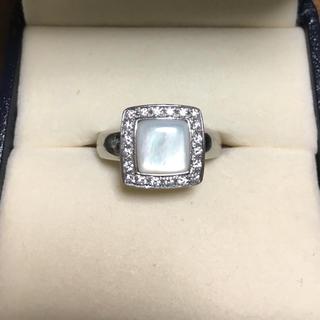 タサキ(TASAKI)の田崎真珠 ダイヤモンド×シェル リング Pt900 0.18ct 8.5g(リング(指輪))