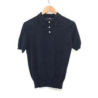 ビームス(BEAMS)の美品 BEAMS F ビームス エフ 半袖 コットン ポロシャツ ブラック 黒(ポロシャツ)
