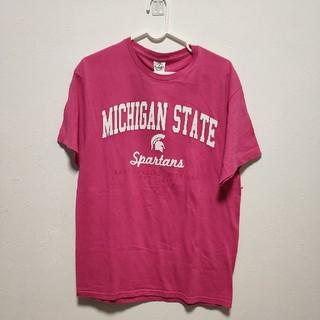 ギルタン(GILDAN)の【古着】GILDAN フットボールシャツ ピンク(Tシャツ/カットソー(半袖/袖なし))