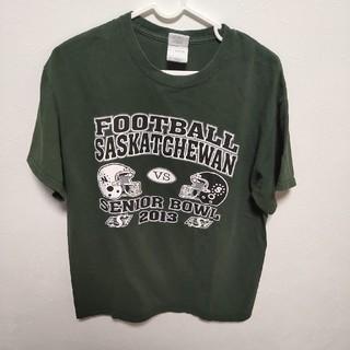 ギルタン(GILDAN)の【古着】GILDAN フットボールシャツ 緑(Tシャツ/カットソー(半袖/袖なし))