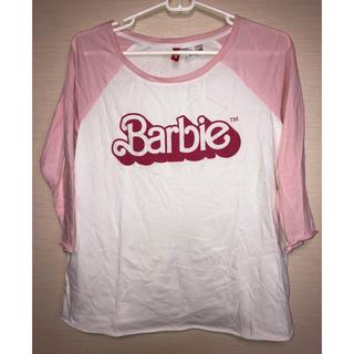バービー(Barbie)のbarbie ロゴ ラグラン ロンT ピンク(Tシャツ/カットソー(七分/長袖))