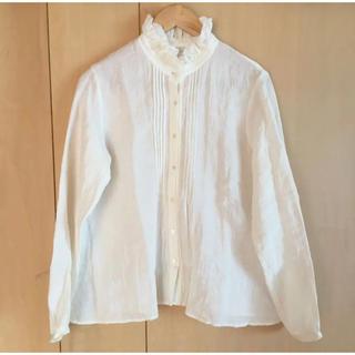 ネストローブ(nest Robe)のTROIS トロワ 白のフリルシャツ ネストローブ 日本製 美品(シャツ/ブラウス(長袖/七分))