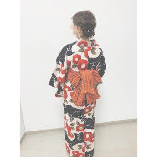 utatane  昭和レトロ 椿 アンティーク浴衣(浴衣)