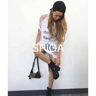 スピーガ(SPIGA)の新品 SPIGA スピーガ夏カジュ可愛い♡メッシュ切替ロゴ半袖Tシャツワンピ(ミニワンピース)