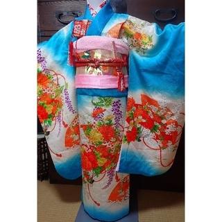 七歳 正絹水色牡丹菊藤 お着物フルセット(和服/着物)