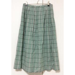 スピックアンドスパン(Spick and Span)のSpick & Span チェック柄 ロングスカート インド綿 グリーン(ロングスカート)