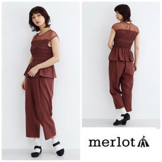 メルロー(merlot)のmerlot plusデコルテレースブラウスセットアップパンツオールインワン風(オールインワン)