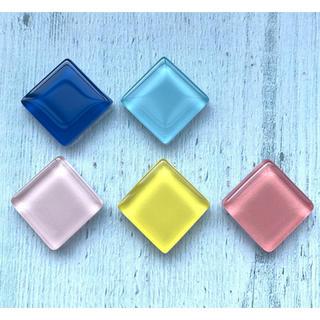 涼しげガラスタイルのマグネット ブルー ピンク イエロー(その他)