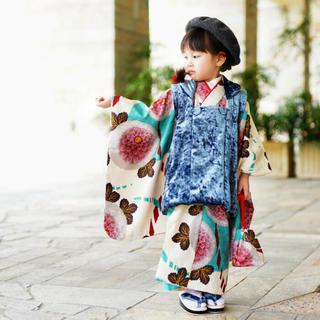[大きな菊]七五三 女の子 着物 三歳用被布コート9点セット(和服/着物)