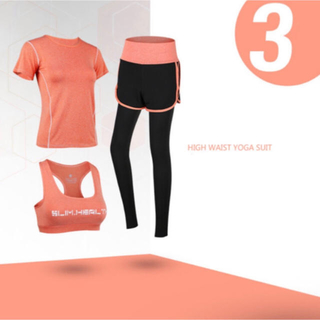 スポーツウェア ヨガウェア 3点セット  オレンジ Mサイズ 加圧 ワークアウト(ヨガ)