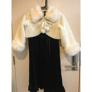 キャサリンコテージ(Catherine Cottage)の黒のドレスワンピースと白の上着セット(ひざ丈ワンピース)