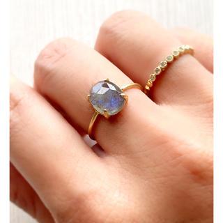 マダガスカル産 ラブラドライド ローズカット 爪留めリング 指輪(リング)