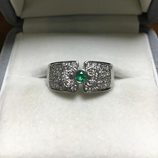 ハローキティ(ハローキティ)のハローキティ ダイヤモンド×エメラルド リング Pt900 10.5g(リング(指輪))