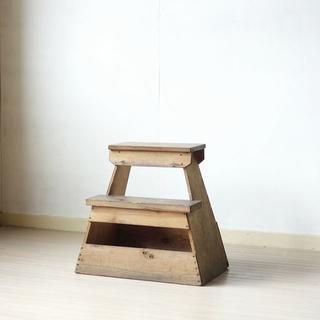アンティーク 木製踏み台 ふみ台 作業イス スツール 古家具 古道具②(その他)