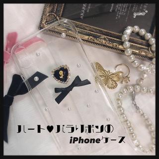 ハニーミーハニー(Honey mi Honey)の【限定値下げ中】ハート♥バラリボンのiPhoneケース  ハンドメイド 量産 (iPhoneケース)