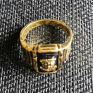 新品 メンズ ヴィンテージ 虎 タイガー メタルブラックゴールドリング(リング(指輪))