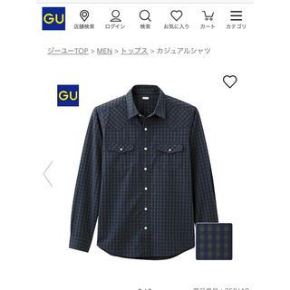 ジーユー(GU)のチェックウェスタンシャツ(ギンガム・長袖)ジーユー gu ネイビー(シャツ)