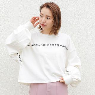 フーズフーチコ(who's who Chico)のラインロゴプリントBIGロンT(Tシャツ/カットソー(七分/長袖))