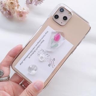 チューリップiPhoneケース ハンドメイド ドライフラワー 韓国(スマホケース)