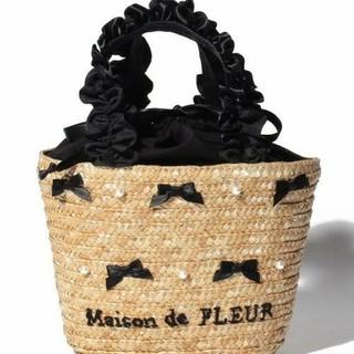 メゾンドフルール(Maison de FLEUR)のメゾン ド フルール 新品タグ付 パール リボン ミニ かごバッグ ブラック 黒(かごバッグ/ストローバッグ)