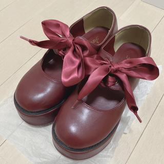 アンクルージュ(Ank Rouge)のAnk Rouge リボンパンプス 赤(ローファー/革靴)