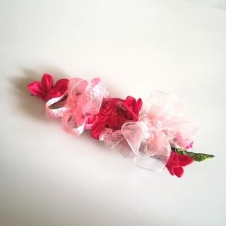 送料無料ラッピング無料☆紫陽花のヘアクリップ バレッタ pink リボンフラワー(ヘアアクセサリー)