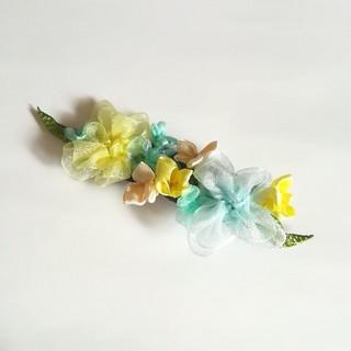 送料ラッピング無料☆紫陽花のヘアクリップ バレッタ yellow リボンフラワー(ヘアアクセサリー)